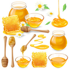 Set of vector illustrations of honey in honeycombs, in a jar dripping from a honey bucket, isolated on a white background in a realistic style. Template, design element, print.