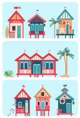 Set of 7 various multicolored Beach huts.