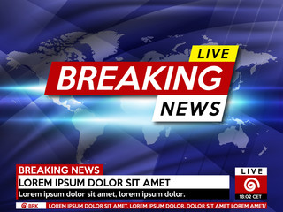 Background screen saver on breaking news. Breaking news live on world map background. Vector illustration.