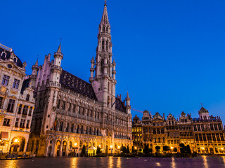 BRUSSELS, BELGIUM - AUGUST 14, 2013: Early morning view of the Town Hall in the Grand Place of  Brussels, Belgium.