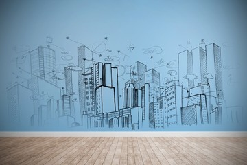Composite image of large city buildings together Wall mural