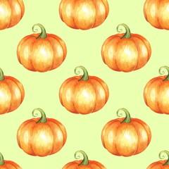 Orange pumpkins. Seamless pattern. Watercolor illustration