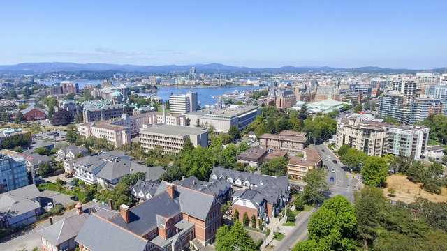 Aerial view of Victoria skyline, Vancouver Island