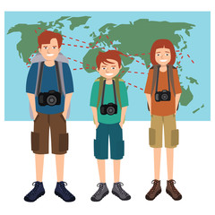 travel photographers family vector cartoon