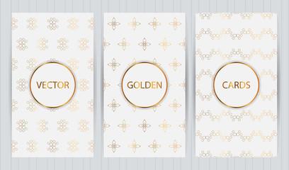Set of cards in golden color on light grey background. Vector business templates for restaurant menu, flyer, brochure,cover, booklet, banner, etc.