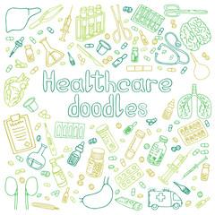 Medicine doodle. Hand drawn vector