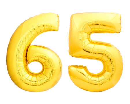 Golden number 65 sixty five made of inflatable balloon