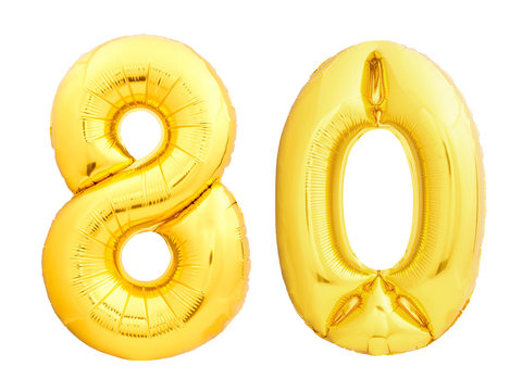 Golden number 80 eighty made of inflatable balloon