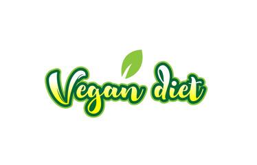 vegan diet word font text typographic logo design with green leaf