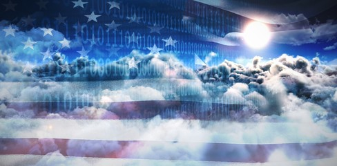 Composite image of clouds and binary coded computer screen
