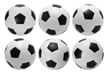 Football. Six soccer balls isolated on white background.