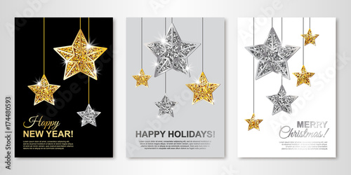 happy new year happy holidays and merry christmas greeting cards with gold and silver hanging
