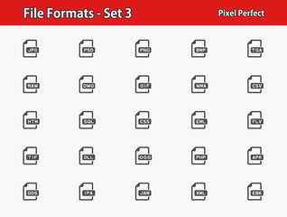 File Formats Icons. Professional, pixel perfect icons optimized for both large and small resolutions. EPS 8 format.