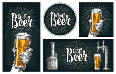 Set horizontal, vertical posters and coaster for craft beer