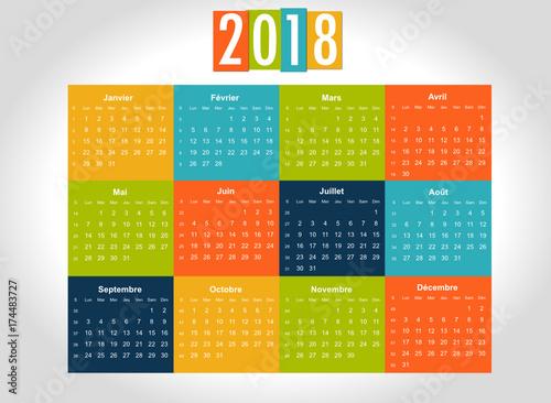 Calendrier Avec Numero Des Semaines.Calendrier 2018 Avec Numero De Semaine Stock Image And