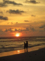 夕暮れの海、スリランカ