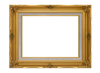 Blank antique golden frame isolated on white background. Golden picture frame.