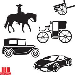 Transportation evolution. Car vector sign.
