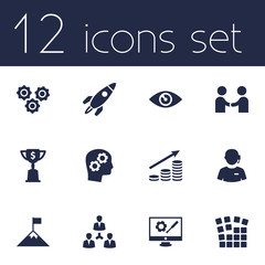 Set Of 12 Idea Icons Set.Collection Of Meeting, Startup Building, Call Center And Other Elements.