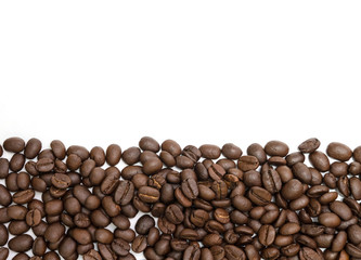 Coffee beans for background isolated on white. Close up image and high resolution.