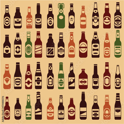 beer bottles vector collection beer vintage seamless background 44