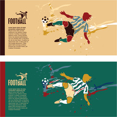 Soccer player kick the ball. Football colorful grunge vintage vector banner background.