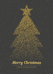 Abstract golden christmas tree on black background. Vector Merry Christmas and happy New Year illustration.