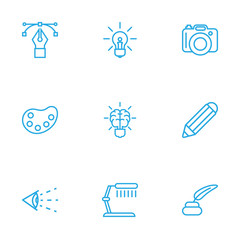 Set Of 9 Creative Outline Icons Set.Collection Of Bezier Curve, Palette, Dslr Camera And Other Elements.