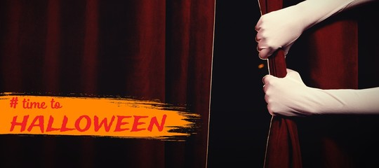 Composite image of graphic image of time to halloween text