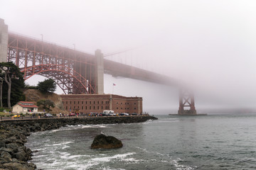 San Francisco Golden Gate Bridge shrouded by fog