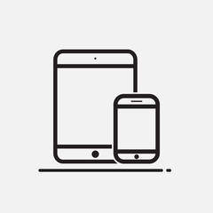 Tablet and Mobile Phone icon on white background