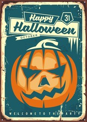 Happy Halloween retro sign. Vintage illustration for Halloween party with pumpkin head