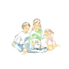 読み聞かせ、母と兄妹、表紙ネコ