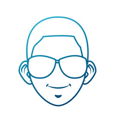 Young man with sunglasses cartoon icon vector illustration graphic design