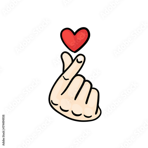 korean finger heart i love you hangul. vector illustration. korean