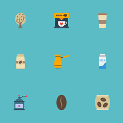 Flat Icons Coffeemaker, Arabica Bean, Timber And Other Vector Elements. Set Of Coffee Flat Icons Symbols Also Includes Tree, Cezve, Pocket Objects.