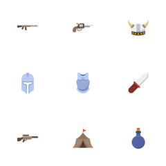 Flat Icons Tent, Assault Rifle, Viking Helmet And Other Vector Elements. Set Of Game Flat Icons Symbols Also Includes Warrior, Knight, Medieval Objects.