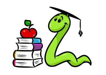 bookworm book teaching cartoon illustration