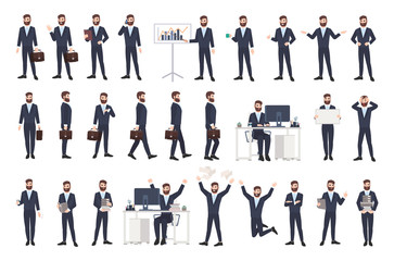 Business man, male office worker or clerk with beard dressed in smart suit in different postures, moods, situations. Flat cartoon character isolated on white background. Modern vector illustration.