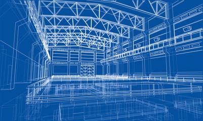 Industrial zone sketch. Vector