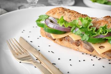Tasty steak sandwich on plate, closeup