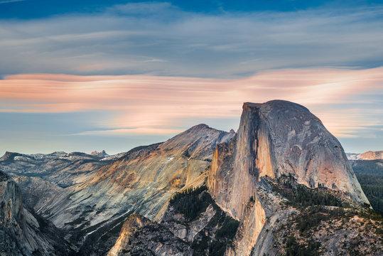 Yosemite Half Dome at Sunset, Glasier Point - California, USA