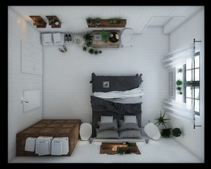 3D Interior rendering of a white bedroom