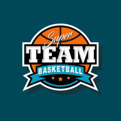 Basketball team emblem. Sport logo. Ball in the circle with ribbons and letters.