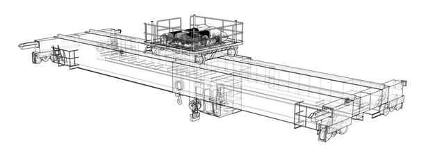 Overhead crane sketch. Vector