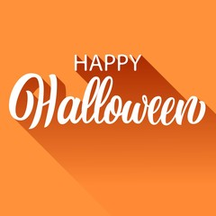 Happy halloween hand lettering with long shadow, ink brush calligraphy isolated on orange background, type design holiday vector illustration.