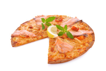 Pizza smoked salmon and lemon on white background