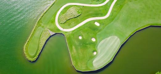 Aerial golf course at country club near Colorado River, Austin, Texas, USA. Panorama.