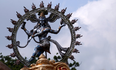 Indian Hindu People bring God Nataraja or shiva Idol for immersion in water body in Ganesha Chathurthi festival