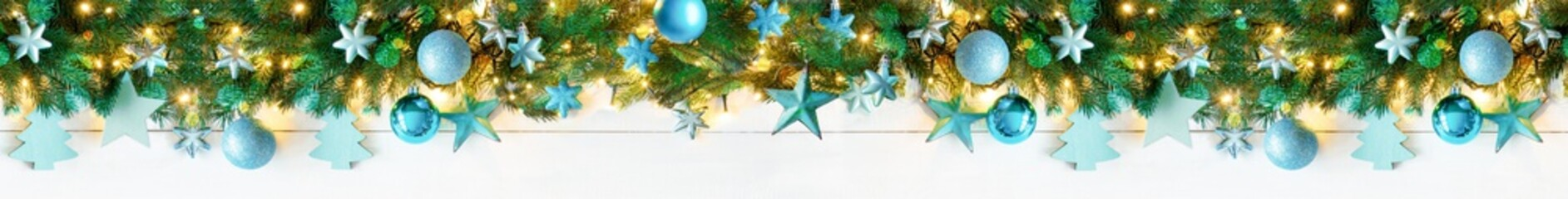 Panorama Turquoise Christmas Banner With Bokeh